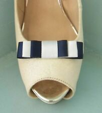 2 Small Navy & Ivory Triple Bow Clips for Shoes - other colours on request