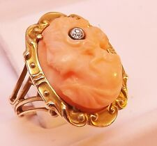 VICTORIAN 10K YELLOW GOLD ANGEL SKIN CORAL CAMEO DIAMOND RING Size 6