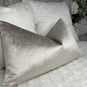 "Rectangle Cushion Cover 12""x20"" Stunning Shimmer Velvet Taupe Luxurious Decor"