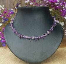 Freedom Tree* Amethyst  & Crystal Gemstone Necklace Hand Made Chakra