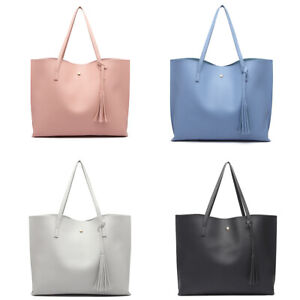 Ladies Leather Look Tote Bag Women Soft Pebbled Causal Tassel Handbag