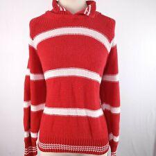 Forenza Striped Pullover Sweater Womens L Thick Knit Red White Grandpa Goldberg