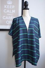 $60 NWT The Limited Silky BLUE STRIPED open kimono cardigan DUSTER topper XS / S