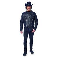 Adult Men's Black Faux Leather Jacket Scissorhands West World Halloween Costume
