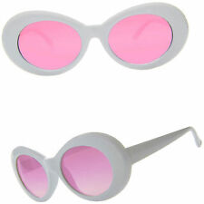 OVAL Cat Eye Sunglasses Vintage Retro KURT COBAIN Style White / Pink Lenses