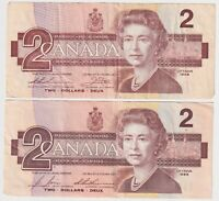 Canada Two Dollar $2 (1986) - 2 Circulated Notes -2 Different Signature Sets