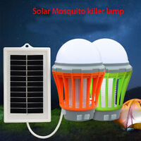 Solar UV LED Electric Fly Insect Bug Pest Mosquito Trap Zapper Killer Night Lamp