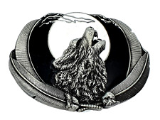 Belt Buckle Howling Wolf Moon Feathers Fenrir For 40mm Belt Pagan Norse Viking