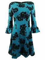 MSRP $89 Jessica Howard Womens Burnout Floral Print Cocktail Dress Blue 16
