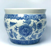"Chinese Jardiniere Ceramic Planter Blue & White 7"" BR-C1-151"