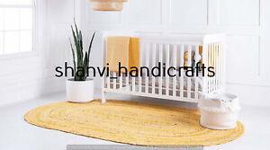 Oval Braided Rug Yellow Colour Handwoven 3x4 Feet Area Rug Home Decor Floor Rugs