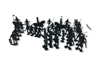 Lot of Reissue MARX Black Playset Soldiers, Knights, Horses