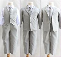 Boys silver light grey formal suit Fancy wedding Holiday set long tie vest pants