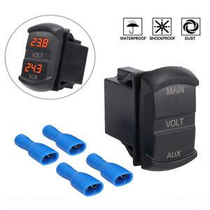 5-60V LED Dual Voltmeter Voltage Gauge Battery Monitor Panel Caravan Boat AU