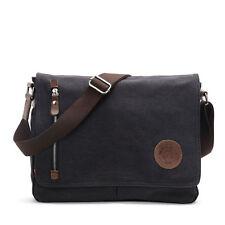 Black Vintage Canvas Leather Satchel School Military Shoulder Bag Messenger Bag