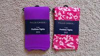 Lot x2 Girls Falls Creek Footless/Thin Tights-Thin-Pink/Purple/Animal-Sz 4/6-New