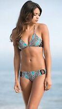 RARE❤️ Acacia Kenya Bikini Top Thai Print Crochet Cross Strap Blue Sz S Rhianna