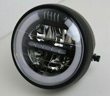 """LED Scheinwerfer Rund PUIG 6,5"""" Schwarz Headlight Lampe E-gepr. seitl. Aufnahmen"""