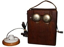 Antique Oak Telephone Box Ringer with Attached Light Socket