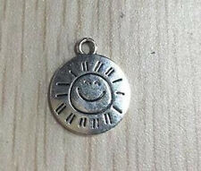 10 Sun Charms Antiqued Silver MADE WITH A SMILE Word Pendants Jewelry Tags