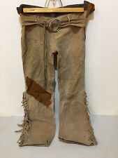 Vintage Womens Low Rise Hip Hugger Leather Hippie Pants With Belt