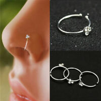 Surgical Steel Nose Ring Crystal Rhinestone Bone Stud Body Piercing Jewelry QP