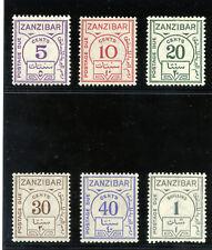 Zanzibar 1936 KGV Postage Dues set complete (ordinary paper) MLH. SG D25-D30.