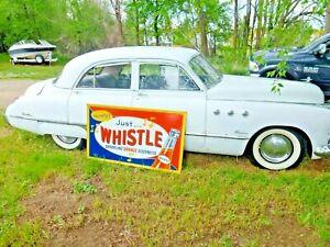 "Original Large 1940s 1950s NOS "" Whistle "" Orange Soda 56"" x 32"" Sign ! ! !"