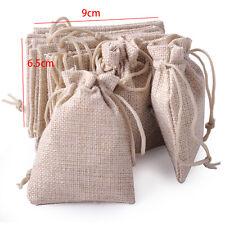10pcs Burlap Linen Drawstring Jute Sack Pouch Bag Wedding Favor Jewelry Gift
