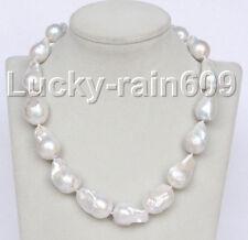 luster Genuine 28mm baroque white Reborn keshi pearl necklace E9100