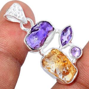 AAA Mandarin Citrine Rough & Amethyst Rough 925 Silver Pendant Jewelry BP89352