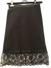 Boudicca Black Stretch Skirt Knee-lenght Laces Leather Trim US Sz 8 England