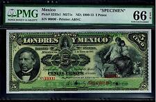 "Mexico RARE $5 Pesos""SPECIMEN""Banco De Londres Y Mexico 1900-1913PMG 66"