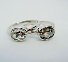 Signed Swarovski Rings Set of 2 Stackable Size 55 7 Gray Crystal Rhodium Plated