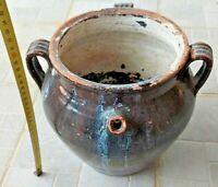 antico vaso 3 anse e beccuccio maiolica NERA - SUD ITALIA XIX SECOLO H Cm. 30