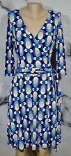 AB STUDIO Black Blue Tan White Geometric Faux Wrap Dress Medium 3/4 Sleeves