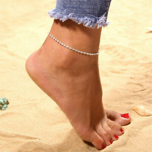 Silver Ankle Bracelet Women Anklet Chain Adjustable Chain Beach Alloy Jewelry UK
