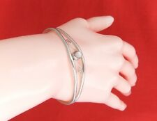 Vintage 925 Sterling Silver Cuff Bangle with Mother Of Pearl.
