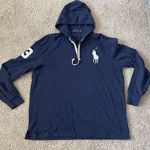 Polo Ralph Lauren Lightweight Pullover Big Pony Hoodie Size XL Mens Blue