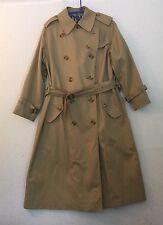 Vintage Burberry Women's 10 P Ex Long Trench Coat Nova Check Camel Tan London