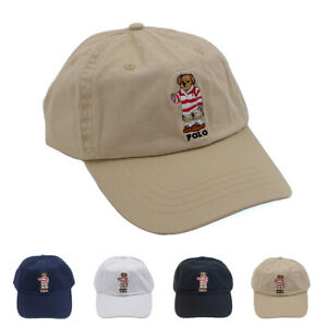 Polo Red Stripe Sweather Bear Embroidery Men's Hat Baseball Soccer Leisure Cap