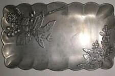 Vintage Lenox Holloware Metal Rectangular Bread Tray With Flowers and Berries