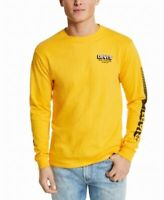 Levi's Mens T-Shirt Yellow Size 2XL Long Sleeve Crew Graphic Tee $34 #002
