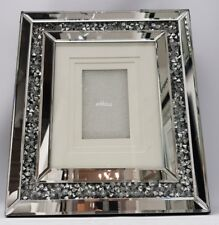 Picture Photo Frame Diamond Crush Crystal Sparkly Silver Mirrored Wall Hung