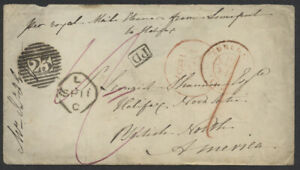 1857 TransAtlantic Stampless, Bruges Belgium to Halifax NS via Liverpool