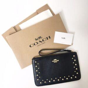 COACH Black Leather Wallet Wristlet Phone Pouch Gold Grommets Studs Zip NEW