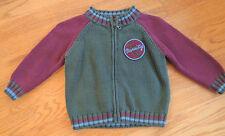 2T Boys Lands End Zip Front Sweater Olive Green~Burgundy Jr Varsity Winter Fall