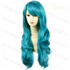 Wiwigs Beautiful Turquoise Cosplay Long Layered Way Skin Top Ladies Wig