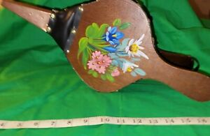 Vintage Fireplace Bellows Hand Painted Red Wood Tan Leather Brass Folk Art RARE!