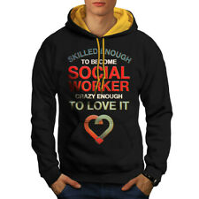 Wellcoda Social Worker Love It Mens Contrast Hoodie, Job Casual Jumper